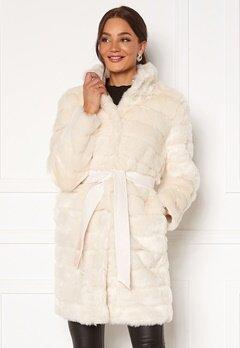 Chiara Forthi Bologna Faux Fur Coat Ivory white Bubbleroom.eu