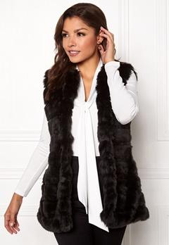 Chiara Forthi Bologna Faux Fur Waistcoat Black Bubbleroom.eu