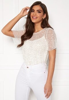 Chiara Forthi Chrystal sequined top Light offwhite Bubbleroom.eu