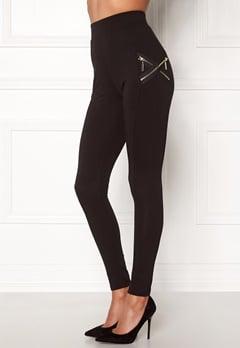 Chiara Forthi Cross-Zip Legging Black / Gold Bubbleroom.eu