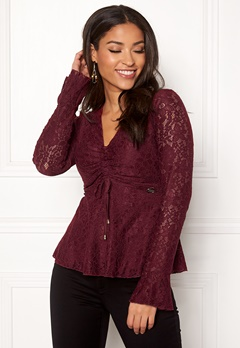 Chiara Forthi Deidre Lace Top Wine-red Bubbleroom.eu
