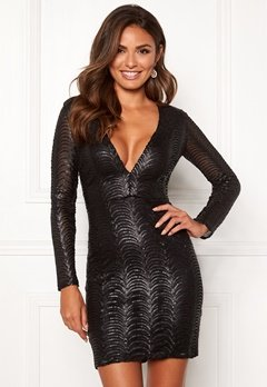 Chiara Forthi Demi deep v-neck sequin dress Black Bubbleroom.eu