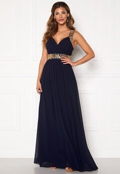 Chiara Forthi Diana Gown Dark blue / Gold Bubbleroom.eu