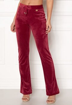 Chiara Forthi Elvira velour bootcut pants Wine-red Bubbleroom.eu
