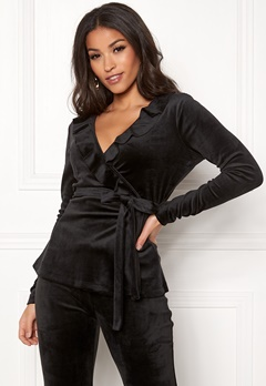 Chiara Forthi Elvira velour wrap top Black Bubbleroom.eu