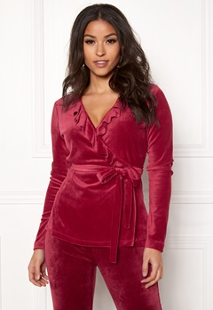 Chiara Forthi Elvira velour wrap top Wine-red Bubbleroom.eu