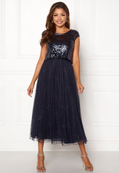 Chiara Forthi Estelle sequin top gown Navy Bubbleroom.eu
