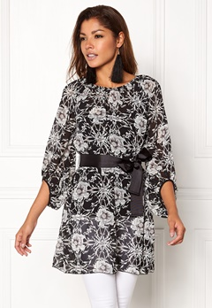 Chiara Forthi Floral Chiffon Dress Black / Floral Bubbleroom.eu