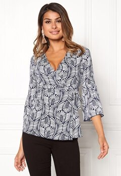 Chiara Forthi Francesca Wrap Top White / Blue Bubbleroom.eu