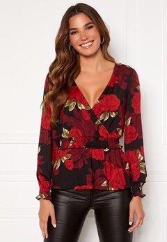 Chiara Forthi Jennica wrap smock top Black / Red / Floral Bubbleroom.eu