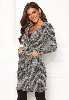 Chiara Forthi Maddalena knitted long coat dress Black / Offwhite Bubbleroom.eu