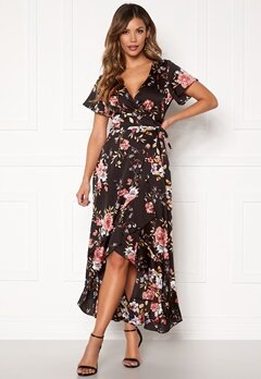 Chiara Forthi Monica wrap flounce dress Black / Pink / Floral Bubbleroom.eu