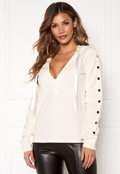 Chiara Forthi Nerina buttoned Hoody Offwhite Bubbleroom.eu