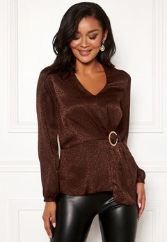 Chiara Forthi Noemi buckle wrap blouse Brown Bubbleroom.eu
