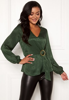 Chiara Forthi Noemi buckle wrap blouse Emerald green Bubbleroom.eu