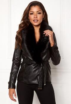 Chiara Forthi Positano Faux Fur Collar Jacke Black Bubbleroom.eu