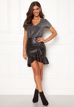 Chiara Forthi Rivalta faux leather flounce skirt Black Bubbleroom.eu