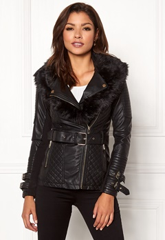 Chiara Forthi Roma Fake Leather Jacket Black Bubbleroom.eu