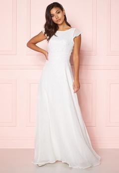 Chiara Forthi Rosanne pearl gown White Bubbleroom.eu