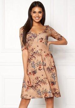 Chiara Forthi Saba Deep V-neck Dress Beige / Floral Bubbleroom.eu