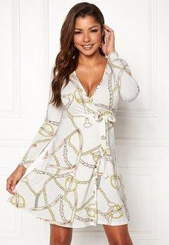 Chiara Forthi Sonnet Mini Wrap Dress Offwhite / Patterned Bubbleroom.eu