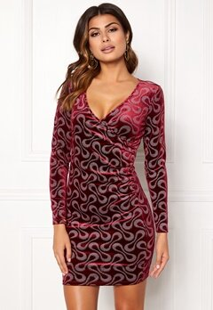Chiara Forthi Sprinkle Velvet Dress Dark fuchsia Bubbleroom.eu