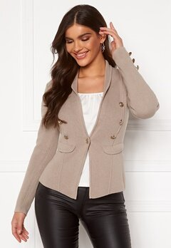 Chiara Forthi Stella heavy knit blazer Grey-beige Bubbleroom.eu