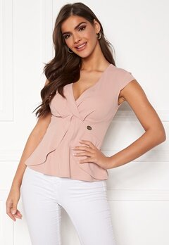 Chiara Forthi Tiziana cap sleeve wrap top Dusty pink Bubbleroom.eu