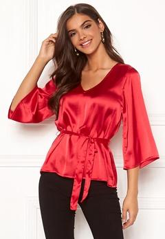 Chiara Forthi Turin tie belt blouse Red Bubbleroom.eu