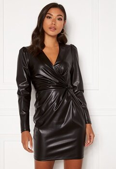 Chiara Forthi Vanni draped faux leather dress Black Bubbleroom.eu