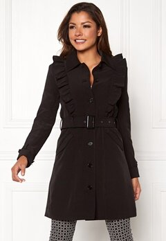 Chiara Forthi Vernazza Frill Trench Coat Black Bubbleroom.eu