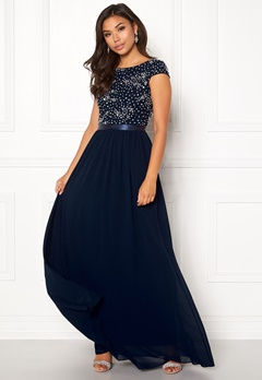 Chiara Forthi Viviere Sparkling Gown Midnight blue Bubbleroom.eu