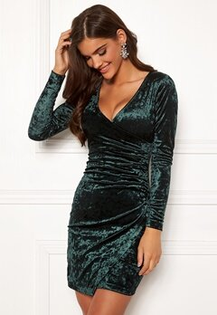 Chiara Forthi Soprano Wrap Velvet Dress Emerald green Bubbleroom.eu