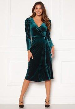 Chiara Forthi Laury puff sleeve wrap dress Green Bubbleroom.eu