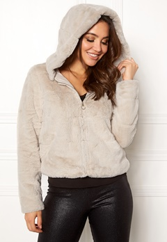 ONLY Chris Fur Hooded Jacket Pumice Stone Bubbleroom.eu