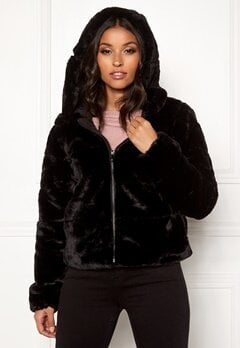 ONLY Chris Fur Hooded Jacket Black Bubbleroom.eu