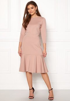 Closet London Long Sleeve Peplum Dress Nude Bubbleroom.eu