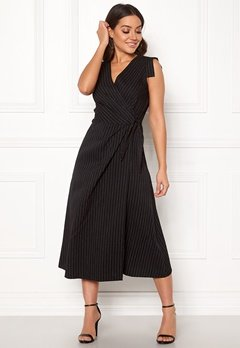 Closet London Wrap Front Midi Dress Black Stripe Bubbleroom.eu