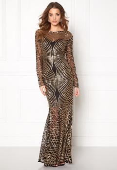 Club L Spiral Sequins Maxi Dress Gold/Black Bubbleroom.eu
