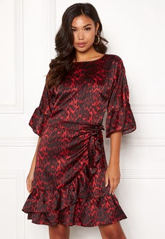 co'couture Animal Sateen Wrap Dress Rio Red Bubbleroom.eu