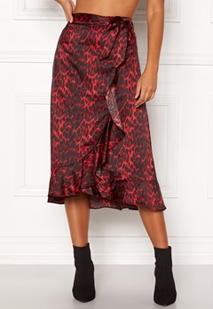 co'couture Red Animal Sateen Skirt Rio Red Bubbleroom.eu
