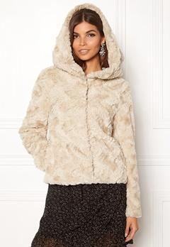 VERO MODA Curl Hoody Faux Fur Short Oatmeal Bubbleroom.eu
