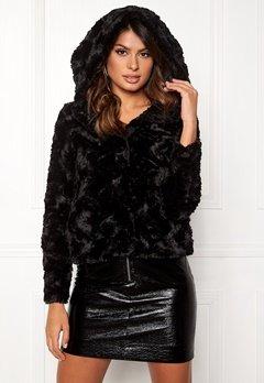 VERO MODA Curl Hoody Faux Fur Short Black Bubbleroom.eu
