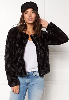 VERO MODA Curl Short Fake Fur Jacket Black Bubbleroom.eu