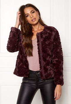 VERO MODA Curl Short Fake Fur Jkt Winetasting Bubbleroom.eu