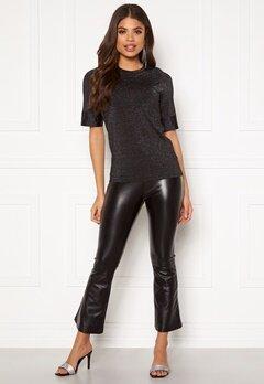 DRY LAKE Flarry Trousers 027 Black Faux Leath Bubbleroom.eu