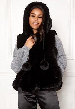 DRY LAKE Pom Pom Hoodie Vest Black Bubbleroom.eu