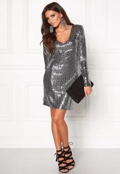 DRY LAKE Star V Dress Dark Silver Bubbleroom.eu