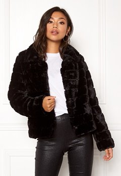 VILA Farry Faux Fur Jacket Black Bubbleroom.eu