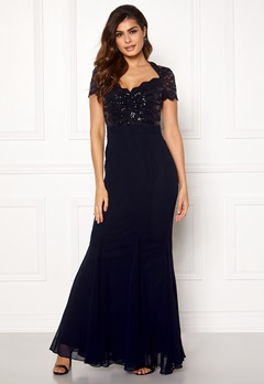 Goddiva Fishtail Maxi Dress Navy Bubbleroom.eu